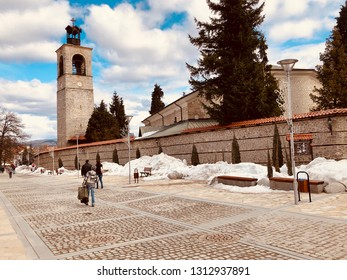 Bansko, Bulgaria-February 10.2019. Old streets of Bansko in Bulgaria.Nice Sunny weather. Holidays people relax in the ski resort in the winter