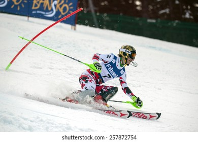 Bansko,Bulgaria - March 1, 2015: Kathrin Zettel (AUT) takes 3 th place during the Audi FIS Alpine Ski World Cup Ladies' alpine combinedo on March  1, 2015 in Bansko, Bulgaria