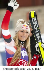 Bansko,Bulgaria - March 2, 2015: Lindsey Vonn (USA) is happy with the 3 th place at the Audi FIS Alpine Ski World Cup Ladies' Super G on March  2, 2015 in Bansko, Bulgaria