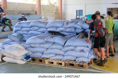 Bantayan, Cebu, Philippines - December 18th 2013:Sacks of rice waiting for distribution by charity and ngo aid workers after the super typhoon Haiyan struck the Philippines