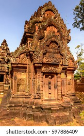 Banteay Srei or Banteay Srey , a 10th-century Cambodian temple dedicated to the Hindu god Shiva.