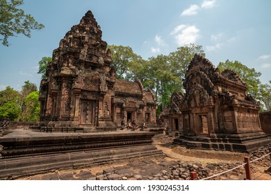 Banteay Srei Temple is an ancient temple in archaeological site in Cambodia.