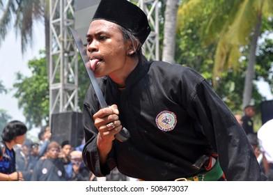 Banten, Indonesia - August 23, 2014 : Performing of Debus martial art at Debus Banten Festival in Banten Province, Indonesia.