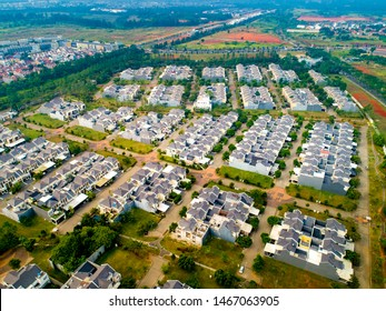 Banten / Indonesia - June 28, 2019: Aerial View of The Greenwich Park Residential Houses, Bumi Serpong Damai (BSD City)