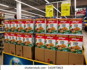 Banting, Malaysia - 19th May 2019: Boxes of Kellog's Corn Flakes neatly arranged on a disolay pallette shot with selective focus inside a Supermarket in Banting, Malaysia