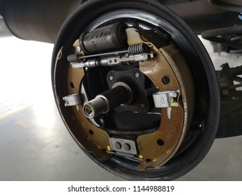 Banting, Malaysia - 28 July 2018 : Rear brake pad wheel car in the workshop.