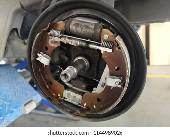 Banting, Malaysia - 28 July 2018 : Close up a car rear brake pad part after cleaning in the workshop.