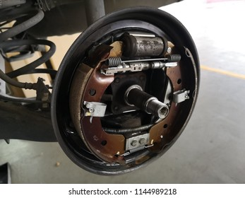 Banting, Malaysia - 28 July 2018 : Close up a rear right brake car system for repair in the workshop.