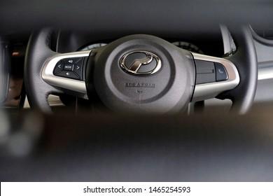 Banting, Malaysia - Jun 29, 2019: Car steering control with PERODUA logo. PERODUA is Malaysia no. 1 car manufacturer