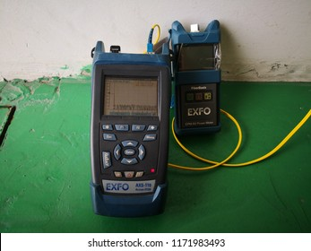 Banting, Selangor - 4th September 2018 : EXFO power meter and otdr equipment for fiber optic troubleshooting work