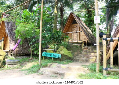 Banting, Selangor, Malaysia - July 28, 2018 - Budget bamboo chalets or hut available for tourist visiting the Tadom Resort Hill in Banting, Selangor.