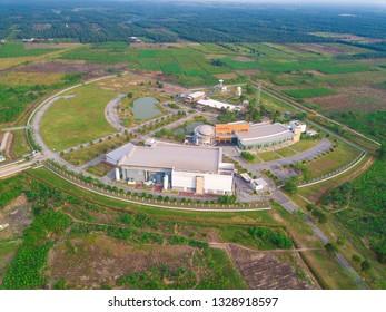 BANTING, SELANGOR MALAYSIA - MARCH 4, 2019 : Pusat Angkasa Negara   Agensi Angkasa Negara Building , Capture from aerial view