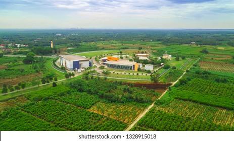 BANTING, SELANGOR - MARCH 4, 2019 : Pusat Angkasa Negara   Agensi Angkasa Negara Building , Capture from aerial view