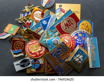 Bantry,Ireland - April 18, 2017:  Metallic Russian Badges