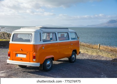 Bantry,Ireland - November 12, 2017: Vintage VW Camper, Bantry Bay, Wild Atlantic Way, Ireland