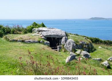 Bant's Carn, Ancient Burial Chamber, St Mary's, Isles of Scilly, Cornwall UK
