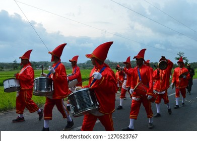 "Bantul, Indonesia - December 30, 2018 : ""Bergada Kirab Budaya"" with their iconic music instrument."