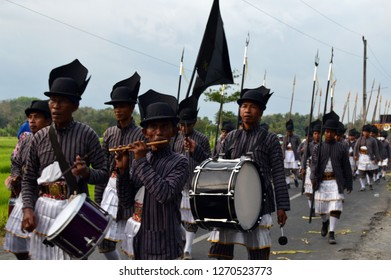 Bantul, Indonesia - December 30, 2018 : Bergada Kirab Budaya music instrument  followed with Bergada Prajurit.