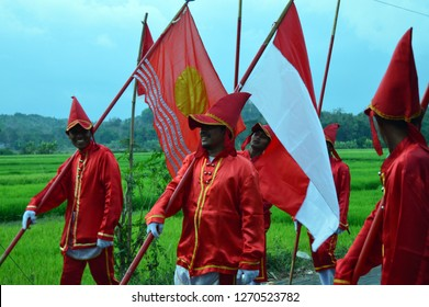 "Bantul, Indonesia - December 30, 2018 : Teenagers participating ""Kirab Budaya"", a traditional culture festival in Bantul, Indonesia."