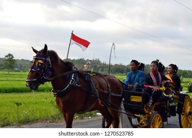 Bantul, Indonesia - December 30, 2018 : Andong - a traditional transportation vehicle from Keraton Yogyakarta.
