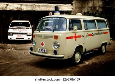 Bantul, Jogjakarta / Indonesia - October 12, 2012 : Volkswagen Kombi T2 Ambulance year 1975.