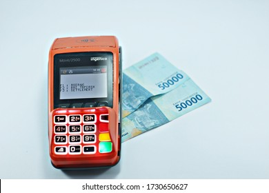 Bantul, Yogyakarta, May 13, 2020 : EDC machine, a tool used for buying and selling transactions.