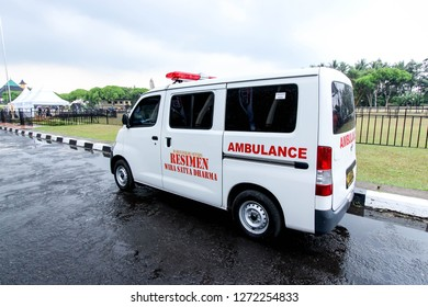 Banyumas, Indonesia - 26th 10 2014: An Ambulance Parking on the Side on the Road
