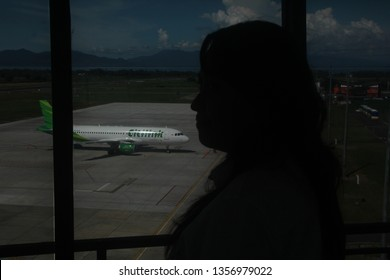 Banyuwangi East Java Indonesia March 31  2019 : the aircraft of  Citilik airline were monitored from the ATC towers in Banyuwangi airport.