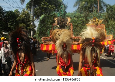 Banyuwangi East Java Indonesia March 25 2019 : Barong arts were crossing the main streets of Banyuwangi while welcoming the campaign of incumbent presidential candidate Jokowi Dodo