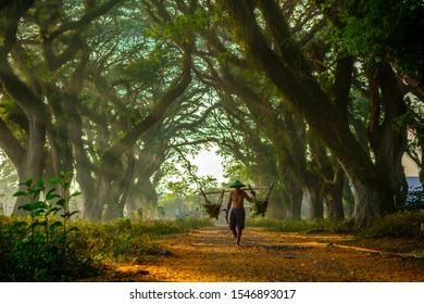 Banyuwangi, East Java / Indonesia - October 9, 2019 : An oldman  at Djawatan Benculuk.