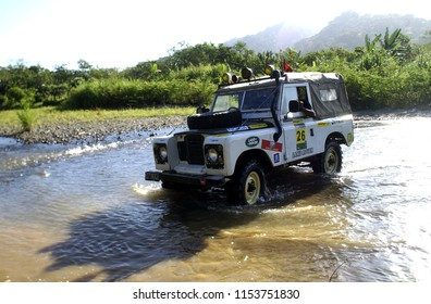 Banyuwangi, Indonesia - July 10, 2004: Landrover Indonesia Car Club held a tour around the protected forest of the Merubetiri National Park to Bromo-Semeru, East Java, Indonesia