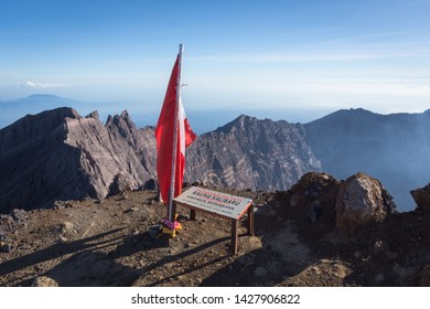Banyuwangi, Indonesia - June 1, 2019 : A view from Puncak Sejati Raung and its Caldera. Raung is the most challenging of all Java's mountain trails