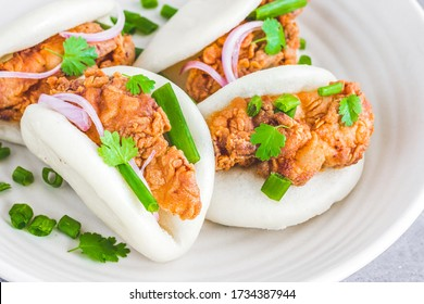 Bao Buns with Fried Chicken, Gua Bao, Traditional Taiwanese Food, Horizontal Close Up Photo