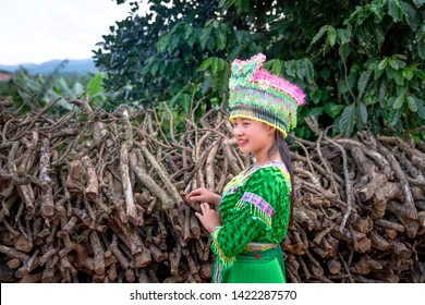 Bao Loc, Lam Dong province, Vietnam - Jun 2, 2019: Portrait of beautiful young H'Mong girl in traditional clothes at Bao Loc, Lam Dong province, Vietnam