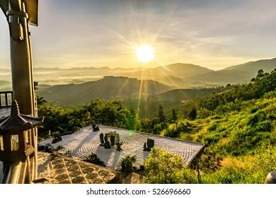 "BAO LOC, VIETNAM - NOV 20,2016: Around of "" Linh Quy Phap An"" pagoda at the morning, Loc Thanh near Bao Loc town, Lam Dong province, Vietnam."