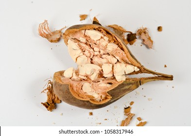 Baobab fruit (Adansonia digitata) on white background, pulp and powder, superfood