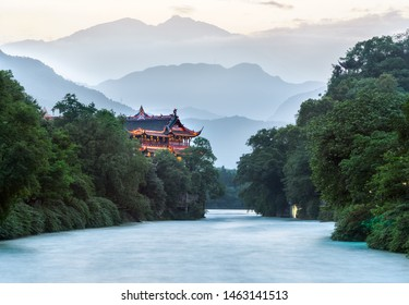 Baoguankou scenery in Dujiangyan Scenic Spot Chengdu Sichuan