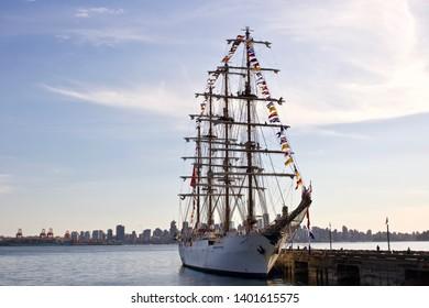 BAP Union ship of the Peruvian Navy visiting North Vancouver, Tall sailing ship.  May 8th, 2019 North Vancouver BC, Canada,