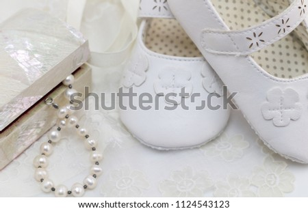 6cab14476b65 Baptism Baby Birthday Background Shoes Pearls Stock Photo (Edit Now ...