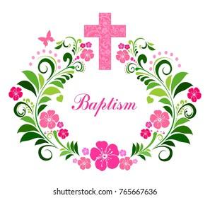 Baptism Card Design with Cross.  Illustration