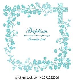 Baptism Card Design with Cross. Mint Baptism. Christening. First Communion.  Illustration