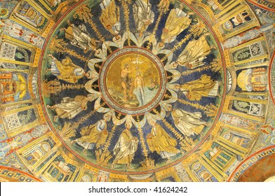 the baptism of christ portrayed on a UNESCO listed sixth century ceiling