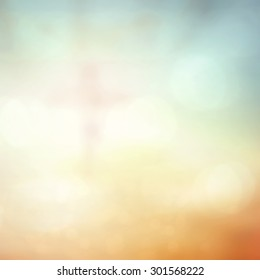 Baptism concept: Blur Jesus Christ on the cross with crown of thorns over beautiful bokeh sunrise background.