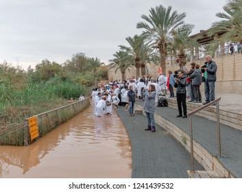 BAPTISM SITE, ISRAEL - NOVEMBER 16, 2018: In this river Jesus of Nazareth was baptized by John the Baptist. River Jordan, Baptised Site, Israel