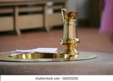 baptismal font and jug