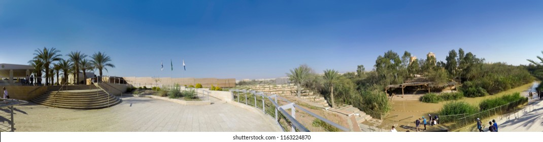 Baptismal site Qasr el Yahud on the Jordan river near Yericho is according to the bible the place where Jesus Christ is being baptized by John the baptist