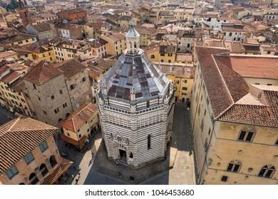 Baptistery of San Giovanni in corte or Ritondo (1303-1361) in Cathedral square (Piazza Duomo). Pistoia, Tuscany, Italy