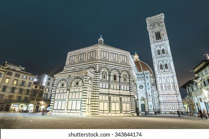 Baptistery of San Giovanni. Firenze. Motion blurred effect due to long exposure. Low angle view.