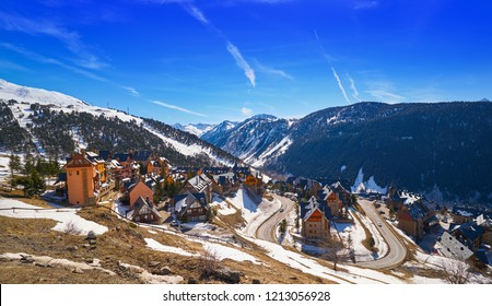 Baqueira Beret in Lerida Catalonia ski spot resort in Aran Valley of Pyrenees Spain