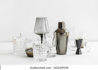 Bar accessories and tools for making cocktail. Shaker, jigger, glass, spoon  and  other bar tools.